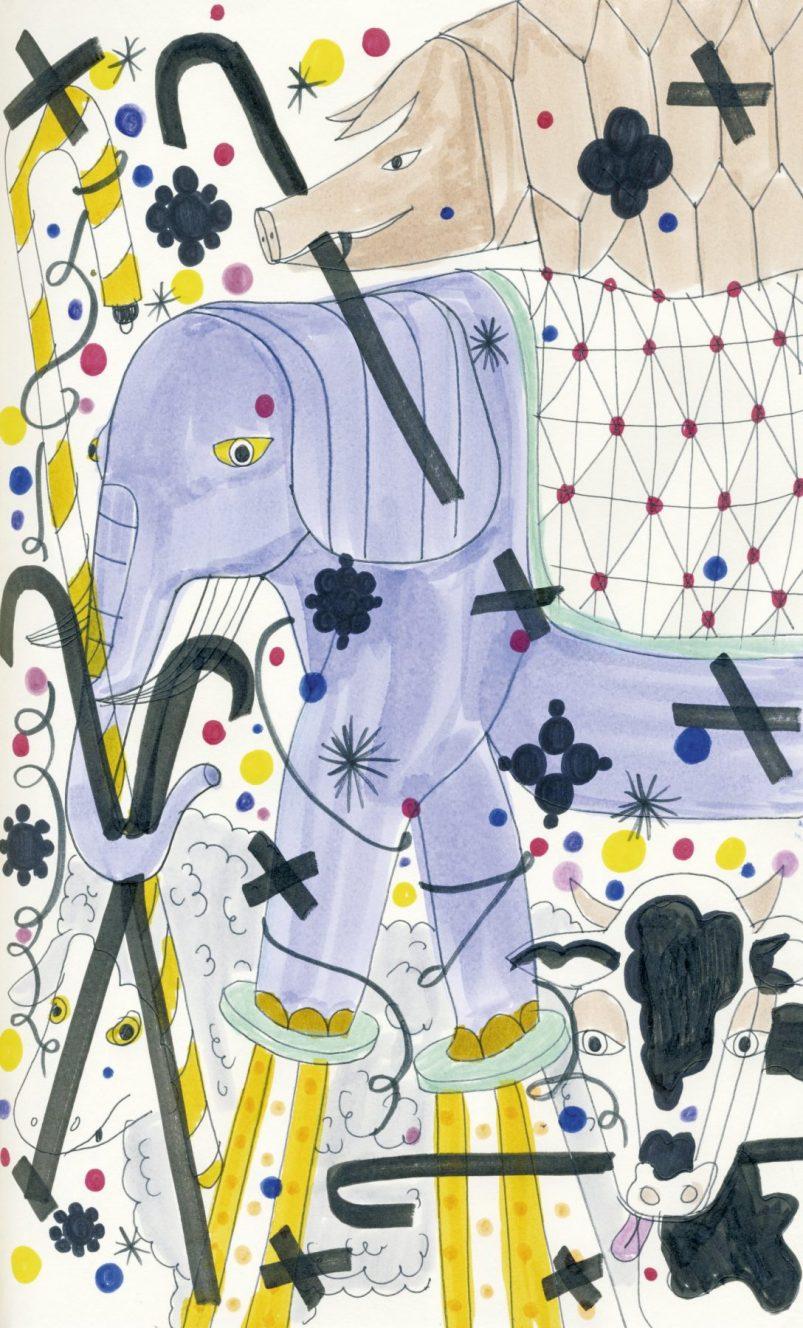 Tapestry mammals sketch, Jaime Hayón